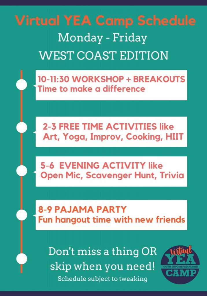 Virtual YEA Camp schedule west