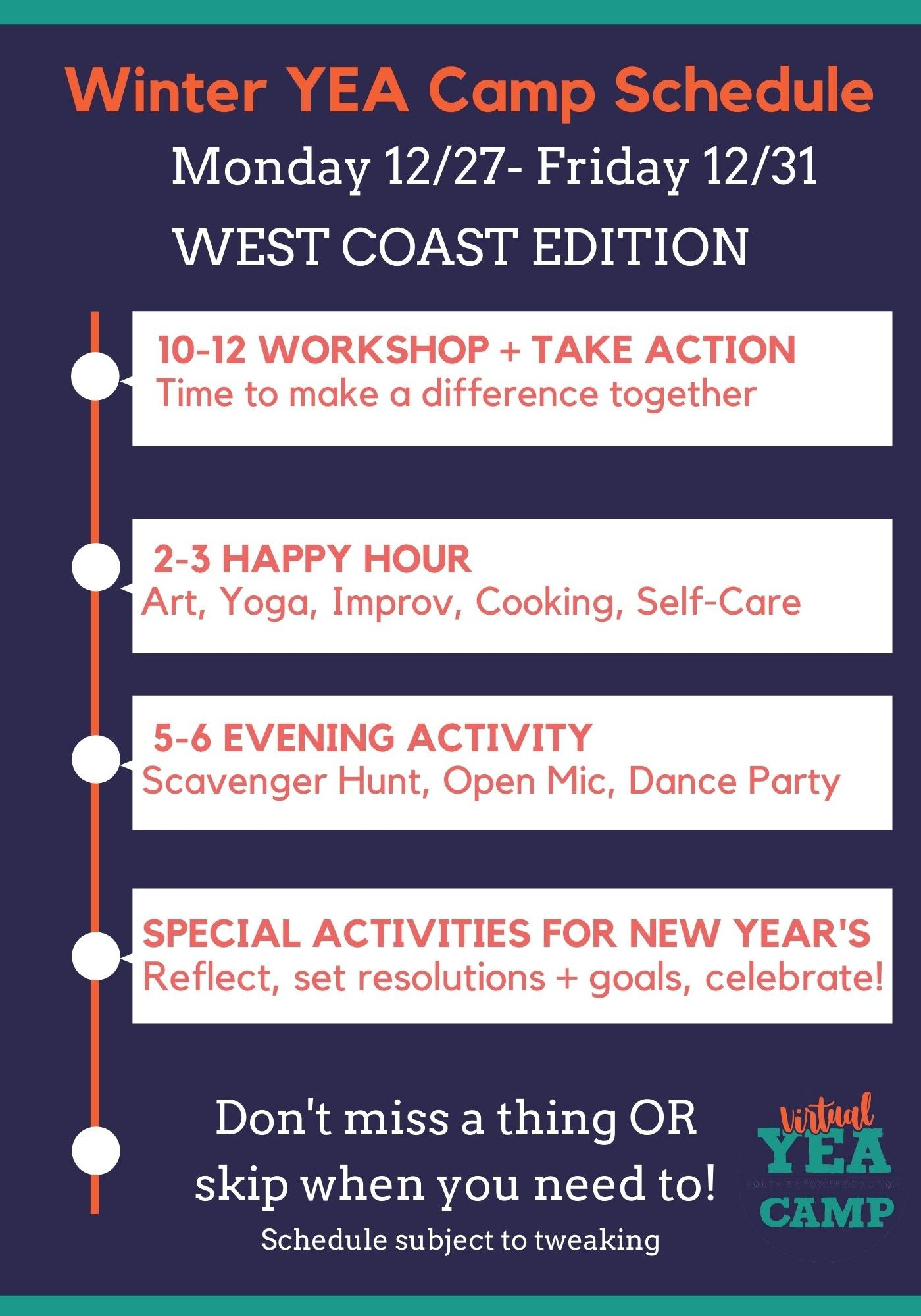 YEA Camp Schedule